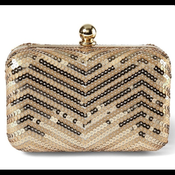 white house black market sequin gold Box bag